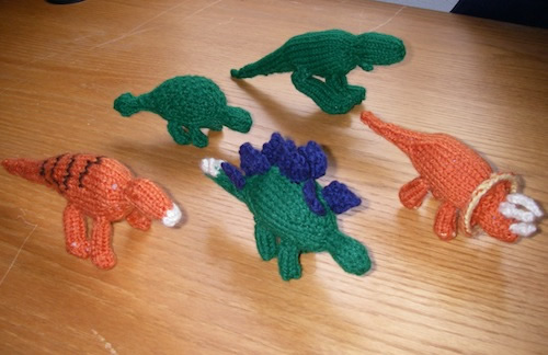 Aly's hand-knit dinosaurs