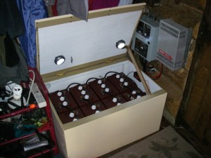 The indoor battery bank. Wish you could have seen it in the outhouse!