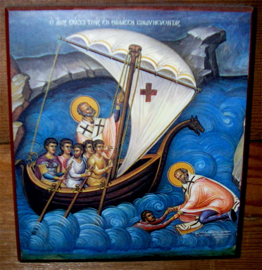 Saint Nick Steers the boat AND saves a drowning sailor! That's an ACTION saint!