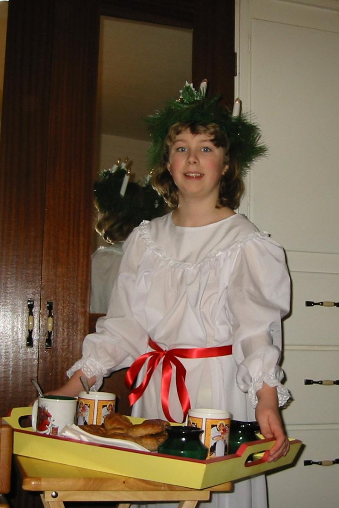 Aly observes St. Lucia Day in 2003 (10 years old).