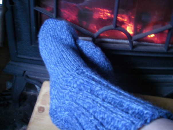 Michelle's latest finished knitting product.