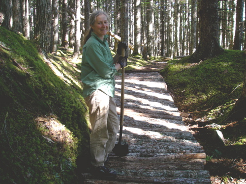Michelle on the finished trail.