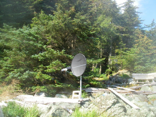 side view of satellite dish after painting