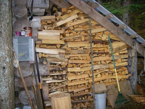 the homestead firewood pile, front side