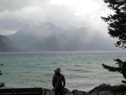 Aly checks out a rain squall against the far shore (Photo: Mark A. Zeiger)