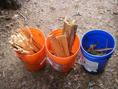 """Kindling (l) potential kindling (middle) chips (r). Big scraggy chunk in middle is """"fat wood"""" from a fallen tree (Photo: Mark Zeiger)."""
