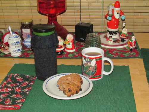 Michelle's single sock cozy poses with a Christmas season breakfast (Photo: Michelle L. Zeiger).
