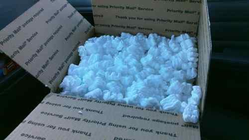 "Forbidden materials: a box full of styrofoam ""peanuts"" (Photo: Mark A. Zeiger)."