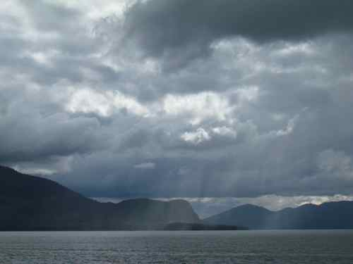 "Squalls cross ""Elephant's Nose"" on Woronkofski Island across from Wrangell, AK (Photo: Mark A. Zeiger)."