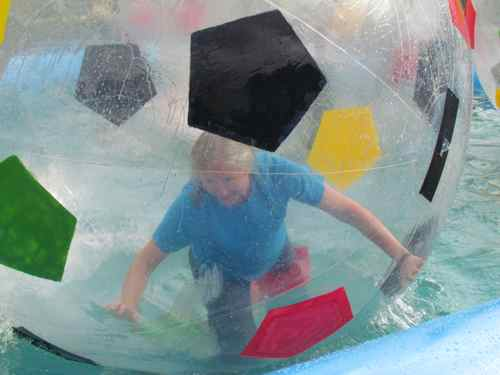 MIchelle in a human hamster ball (Photo: Mark A. Zeiger).