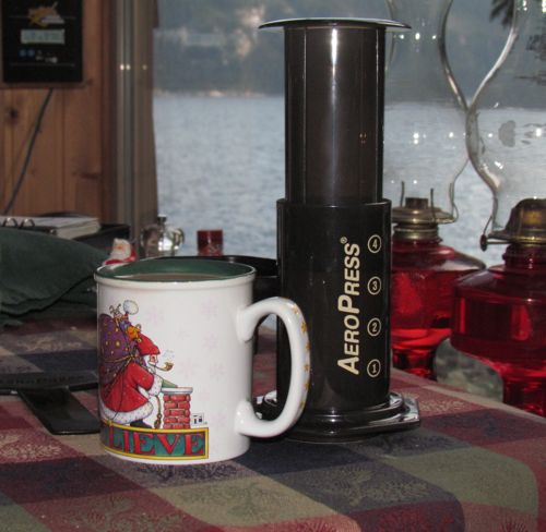 Look! It even makes Christmas coffee! (Photo: Mark A. Zeiger.)