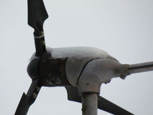 Snow on the wind generator: (Photo: Mark A. Zeiger).