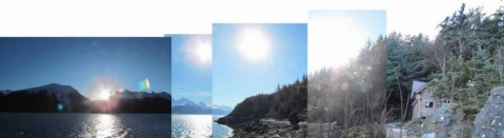 The composite skyline photo with various heights of the sun (Photos: Mark A. Zeiger).