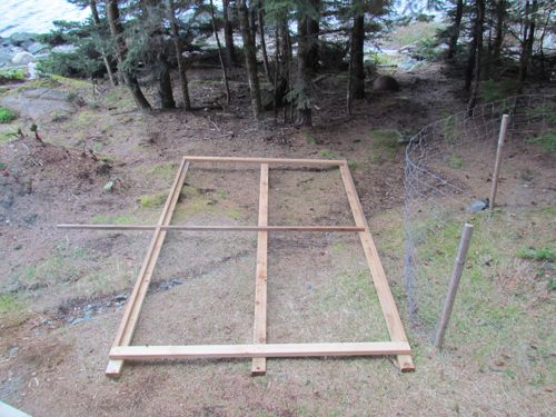The 12-foot tall PV frame as seen from the cabin window  (Photo: Mark A. Zeiger).