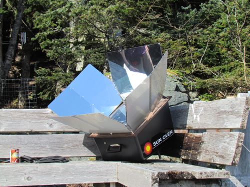 Our Solar Oven on the veranda, ready to cook (Photo: Mark A. Zeiger).