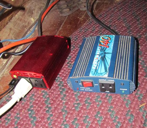 Inverters: the new Bestek on the left, old Portawattz on the right (Photo: Mark A. Zeiger).