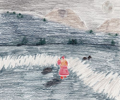 Santa crosses Mud Bay (artwork (c) 2010 Sarah A. Zeiger).