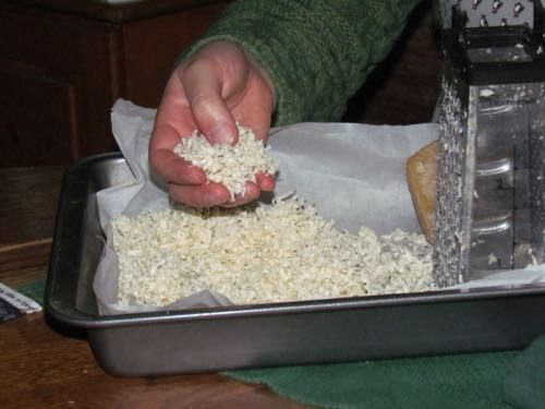 Grated beeswax. Michelle estimates about a cup to coat two large cloths (Photo: Mark A. Zeiger).