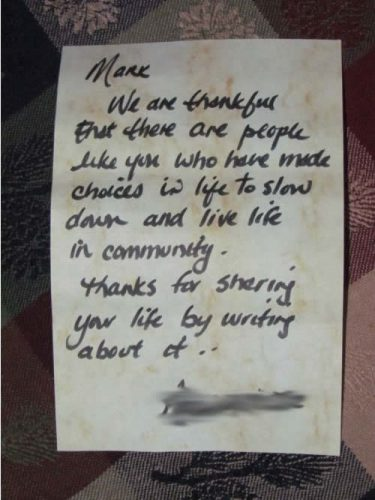 A much appreciated note of gratitude (Photo: Mark A. Zeiger).