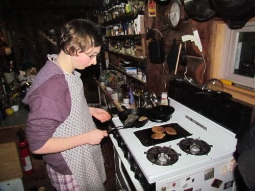 Aly makes sourdough pancakes from a sponge that's older than she is (Photo: Mark A. Zeiger).
