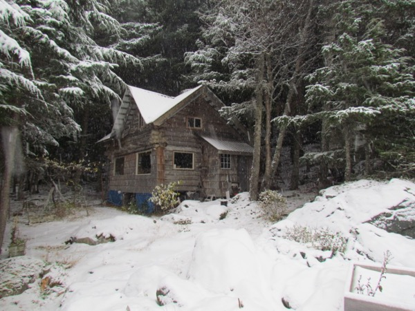 Zeiger family homestead cabin in snow 2017