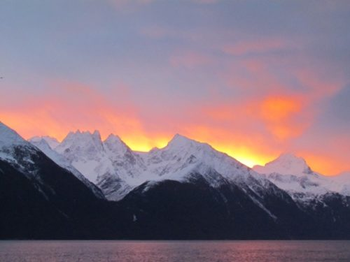 December sunrise over Coast Range, Alaska