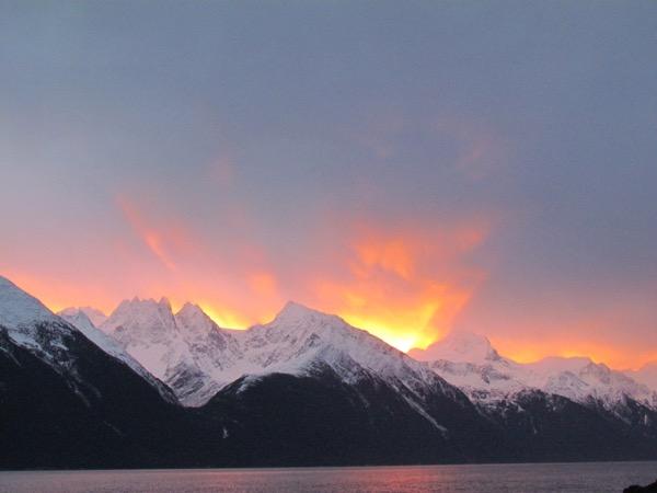December sunrise over Coast Range, Alaska