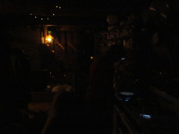 Cabin by oil lamp light