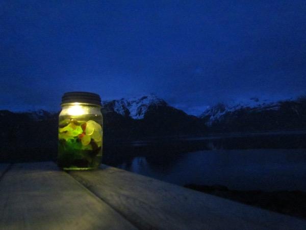 Solar light jar with beach glass