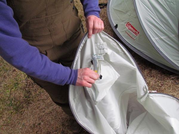 tent stake stowage