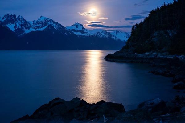 moon over the Coast Range, Southeast Alaska