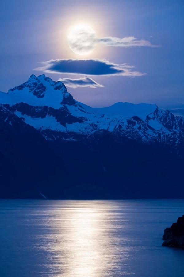 full moon over Lynn Canal, Alaska