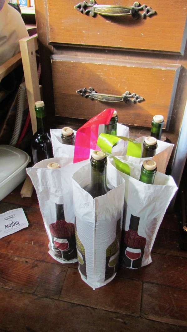 wine bagged for delivery