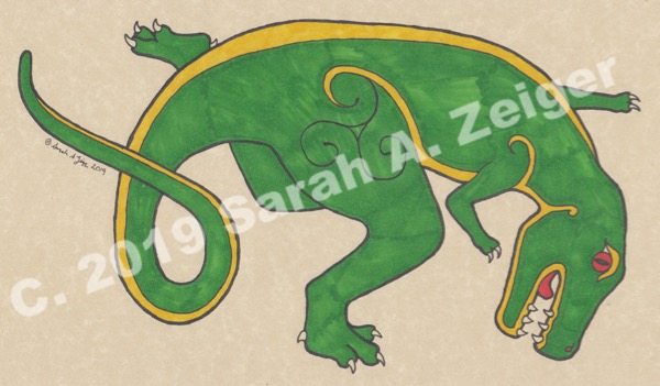 Sarah A. Zeiger's Kells-style T-Rex